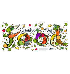 World food day banner various food vector