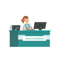 Young girl giving free consultation for needy vector