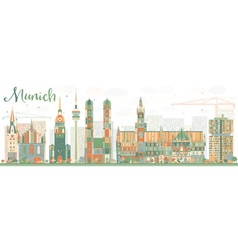 Abstract Munich Skyline with Color Buildings vector image