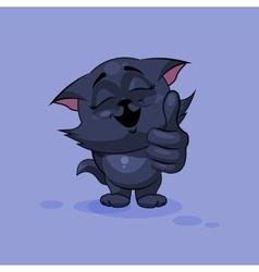 Black cat thumb up vector