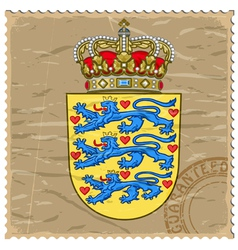 Coat of arms of Denmark on the old postage stamp vector image vector image