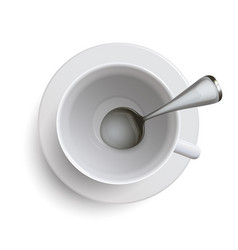 empty white cup with a spoon vector image vector image