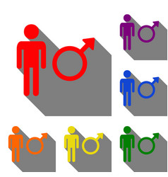 male sign set of red orange yellow vector image
