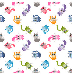 Seamless pattern with cute colorful cartoon cats vector