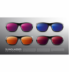 Stylish modern colored sunglasses set vector