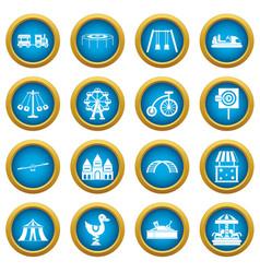amusement park icons blue circle set vector image vector image