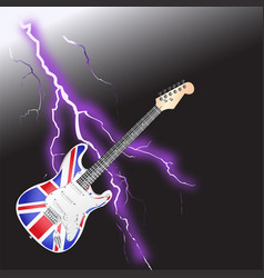 british rock and roll guitar realistic lightning vector image