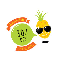 Colorful 30 percent off with pineapple character vector