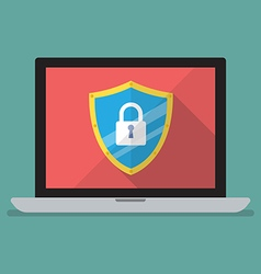 Laptop computer protected by firewall guard vector image