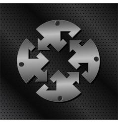 metal circle with arrows vector image vector image