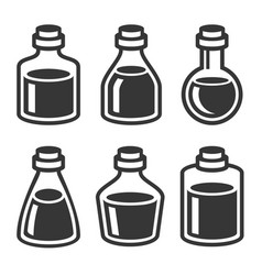 small medical or parfume jar and bottles icons set vector image vector image