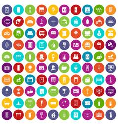 100 interior icons set color vector image vector image