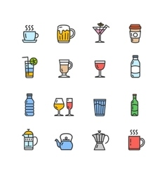 Drink Alcohol Beverage and Coffee Tea Icons vector image vector image