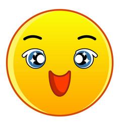 happy yellow emoticon icon cartoon style vector image