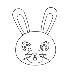 rabbit muzzle icon in outline style isolated on vector image vector image