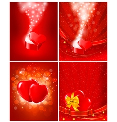 Set of Valentines day backgrounds vector image vector image