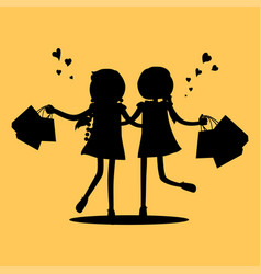 silhouettes of girls with shopping bags friends vector image