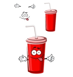 Takeaway red beverage cup character vector image vector image