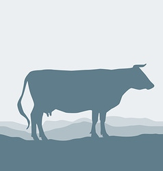 Cow silhouette graze in the field landscape sky vector image vector image