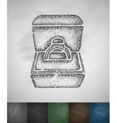 Engagement ring in a box icon vector