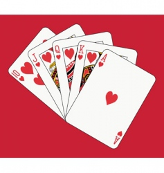 royal flush hearts vector image vector image