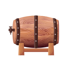 wooden brown barrel on white vector image