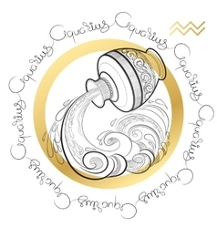 Zodiac sign Aquarius on white background vector image