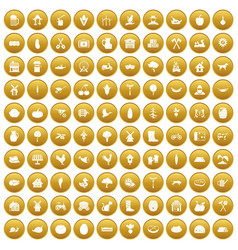 100 farm icons set gold vector