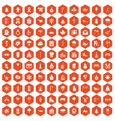 100 winter holidays icons hexagon orange vector image