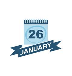 26 january calendar with ribbon vector