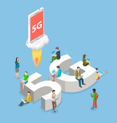 5g flat isometric concept vector image