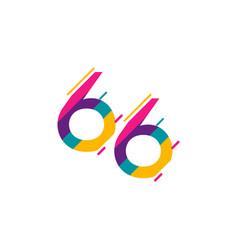 66 years anniversary celebration template design vector