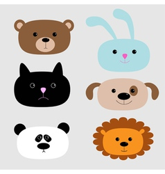 Animal head set cartoon bear rabbit cat dog panda vector