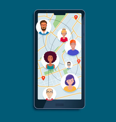 avatars people on a map vector image