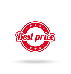 best price label red color isolated on white vector image