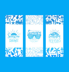 best summer vacation banner templates set enjoy vector image