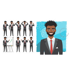 Black african american business man set of vector