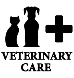 Black veterinary care icon with pet cross vector