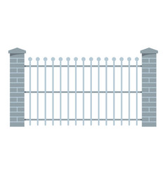 brick and metal fence icon flat style vector image