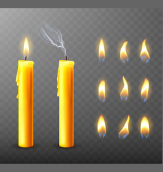 Burning extinguished candle dripping wax vector