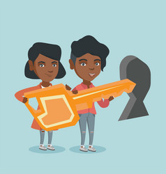 Business women holding key in front of keyhole vector