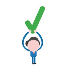 businessman character holding up check mark vector image