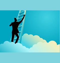 businessman climbing a ladder above the clouds vector image