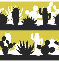Cactuses and plants stylized natural seamless vector image