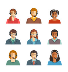Call center agents flat avatars vector