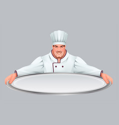 chief cooker keeps large empty tray vector image