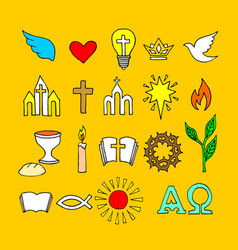 christian symbols and icons drawn hand vector image