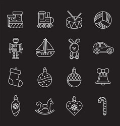 Christmas related toys icons set outline on vector