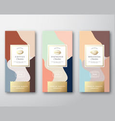coffee cocoa and pistachio chocolate labels set vector image