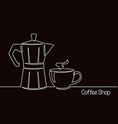 coffee pot and cup line art vector image
